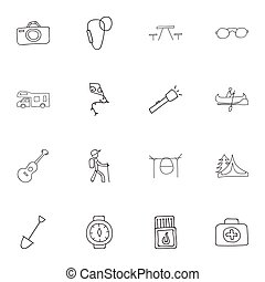 Set Of 16 Editable Trip Icons. Includes Symbols Such As Hiker, Flashlight, Picnic And More. Can Be Used For Web, Mobile, UI And Infographic Design.