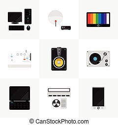 Set Of 9 Editable Tech Icons. Includes Symbols Such As Ventilation, Sewing Machine, Turntable And More. Can Be Used For Web, Mobile, UI And Infographic Design.