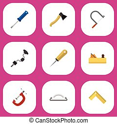 Set Of 9 Editable Equipment Icons. Includes Symbols Such As Hacksaw, Turn-Screw, Boer And More. Can Be Used For Web, Mobile, UI And Infographic Design.