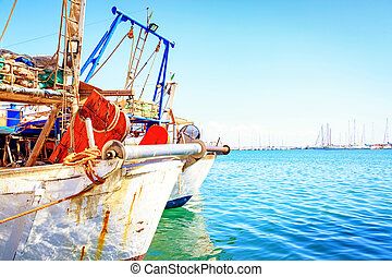 Fishing Boats in Harbor With Copy Space