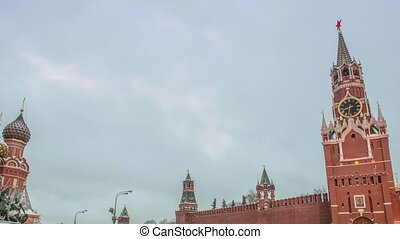 Moscow Kremlin Main Clock named Kuranti on Spasskaya Tower....