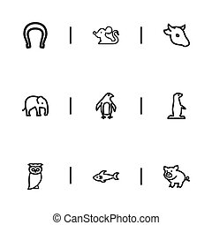 Set Of 9 Editable Zoo Icons. Includes Symbols Such As...
