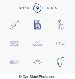 Set Of 9 Editable Trip Icons. Includes Symbols Such As...