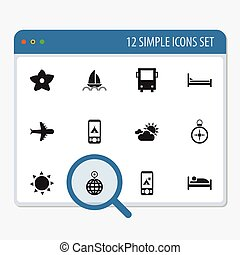 Set Of 12 Editable Travel Icons. Includes Symbols Such As...