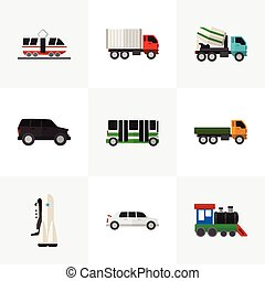 Set Of 9 Editable Automobile Icons. Includes Symbols Such As Wagon, Limousine, Cement Blender And More. Can Be Used For Web, Mobile, UI And Infographic Design.