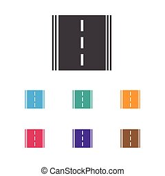 Vector Illustration Of Car Symbol On Road Icon. Premium Quality Isolated Highway Element In Trendy Flat Style.