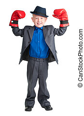 I will be a champion - Little boy with suit and hat raising...