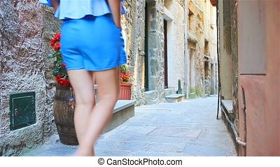 Beautiful girl on european holidays in Cinque Terre. Young...