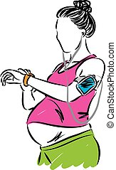 pregnant woman workout fitness vector illustration