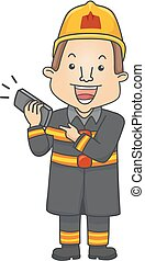 Man Fire Fighter Phone Call 911 Illustration - Illustration...