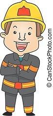 Man Fire Fighter Pose Illustration - Illustration of a...