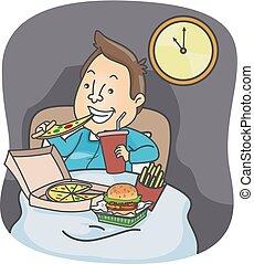 Man Midnight Snack Junk Food Illustration