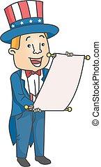 Man Uncle Sam Announcement Illustration