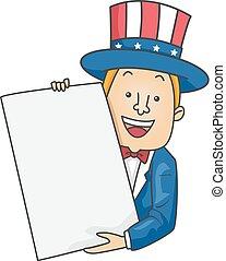 Man Uncle Sam Present Paper Illustration