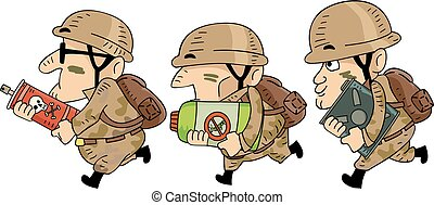 soldados, hombre, Ilustración, pesticidas