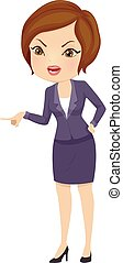 Girl Business Angry Point Illustration