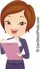Girl Business Checking Records Illustration