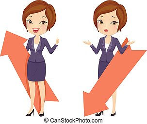 Girl Business Up Down Arrows Illustration