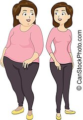 Girl Before After Weight Illustration
