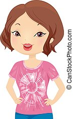 Girl Craft Dyed Shirt Illustration - Illustration of a Girl...