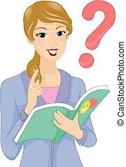historia, pregunta, Ilustración, libro, niña, profesor