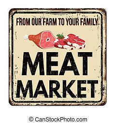 Meat market vintage rusty metal sign on a white background,...