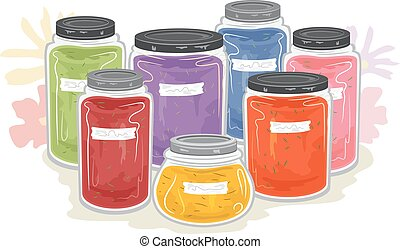 Craft Dye Storage Flowers Illustration - Illustration of...