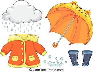 Rainy Day Outfit Elements Illustration