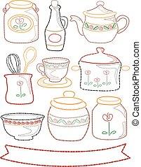 Stitch Kitchen Embroidered Elements Illustration -...