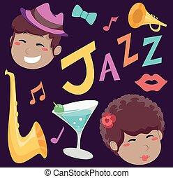 Jazz Music Elements Illustration