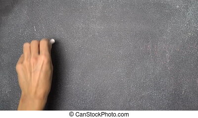 "Hand writing ""WI FI"" on black chalkboard - Woman's hand..."