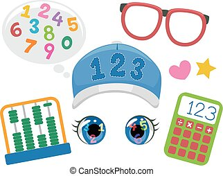 Funny Face Math Kid Elements Illustration