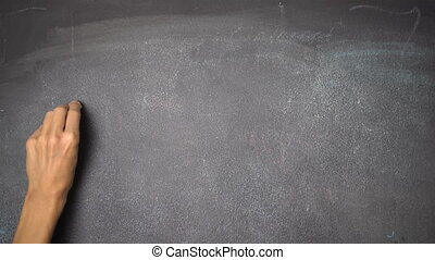 "Hand writing ""DO IT!"" on black chalkboard - Woman's hand..."