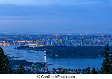 Vancouver BC Cityscape during Blue Hour Dawn