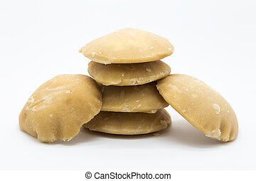 Plam sugar on white background, raw food isolated