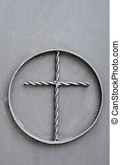 cross design - a cross within a circle made in wrought iron
