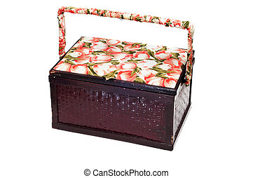 sewing box - a vintage sewing box isolated on a white...