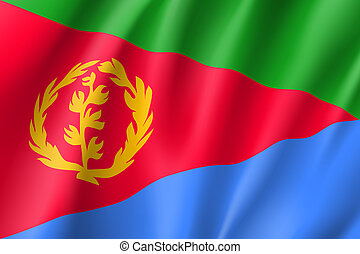 national flag of Eritrea. - Waving flag of Eritrea. Sign...