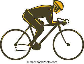 cyclist side view isolated on white - Illustration of a...