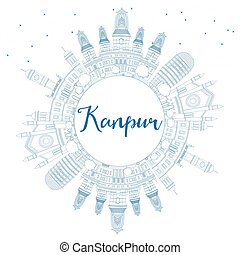 Outline Kanpur Skyline with Blue Buildings and Copy Space....