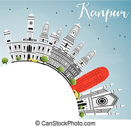 Kanpur Skyline with Gray Buildings, Blue Sky and Copy Space....