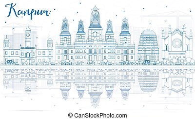 Outline Kanpur Skyline with Blue Buildings and Reflections....