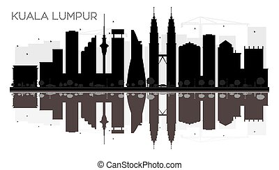 Kuala Lumpur City skyline black and white silhouette with reflections.