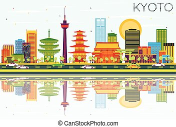 Kyoto Skyline with Color Buildings, Blue Sky and Reflections.