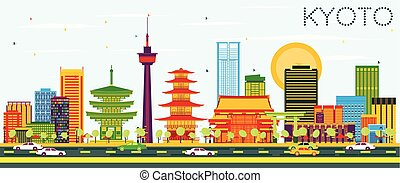 Kyoto Skyline with Color Buildings and Blue Sky.