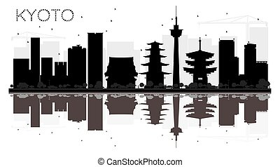 Kyoto City skyline black and white silhouette with reflections.