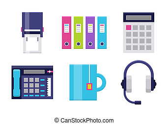 Modern icons set for office - Office flat icons. Icons set...