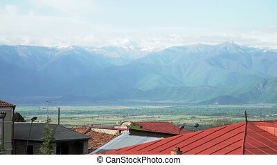 Beatiful view of Alazani Valley and Caucasus range - View of...
