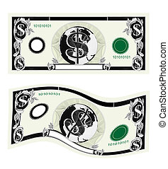dollar bills isolated on white - Illustration of two types...