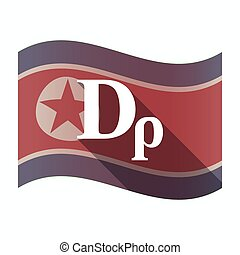 Long shadow North Korea flag with a drachma currency sign -...